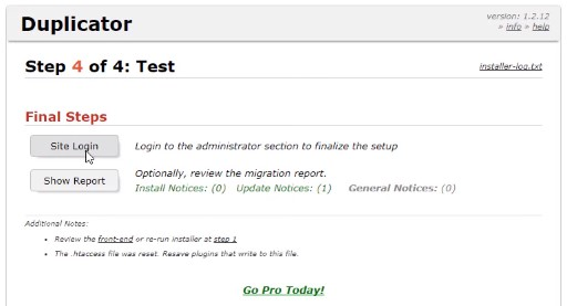 site login at last step