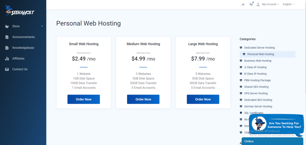 personal hosting packages
