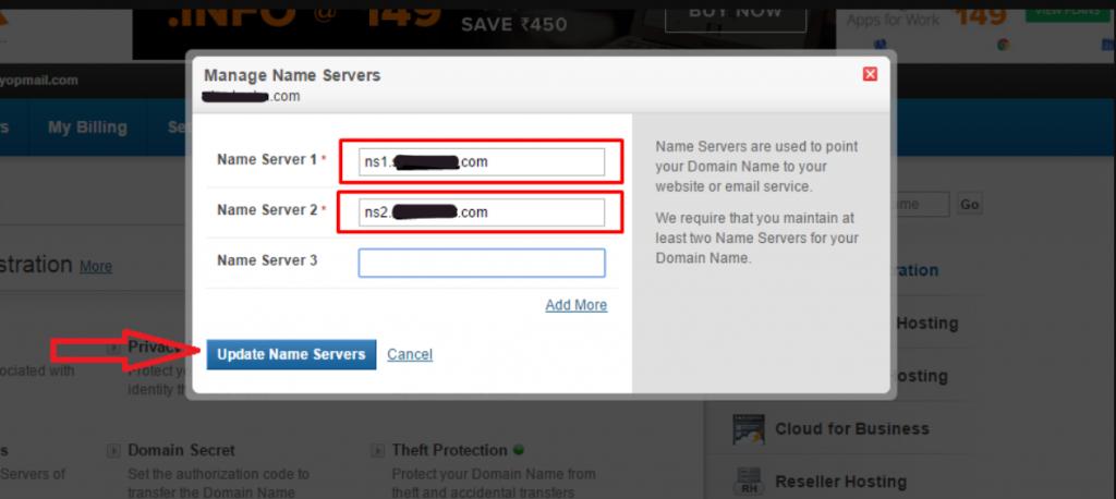 Manage Name Servers in Bigrock