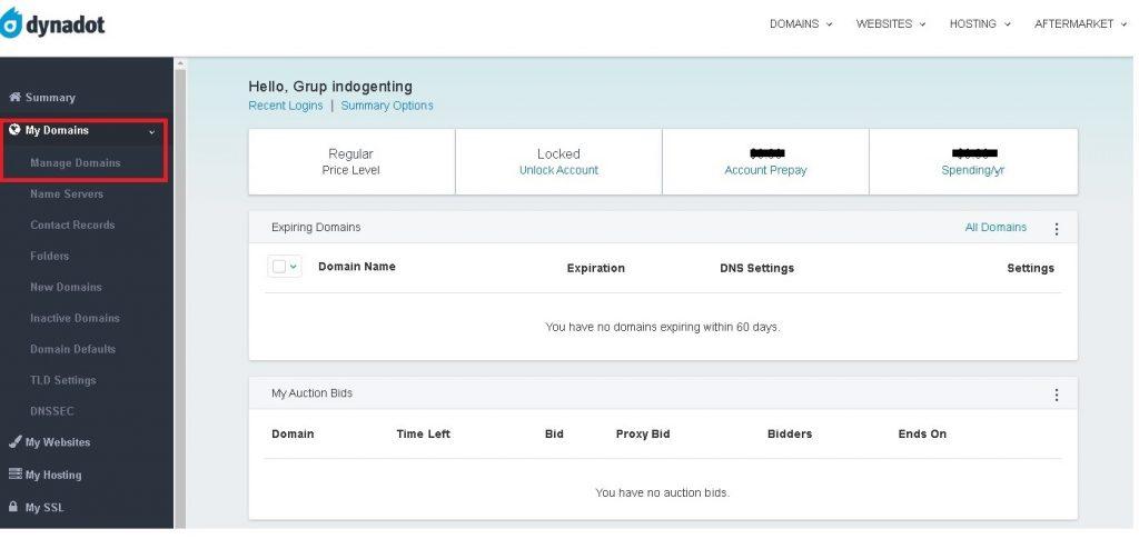 My Domains - DynaDot Nameserver update