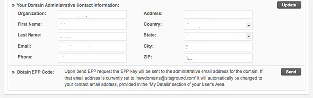 Obtain EPP Code to Transfer Domain