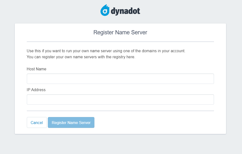 Register your own name servers