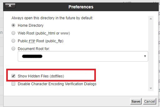 Show Hidden Files to edit htaccess in cPanel