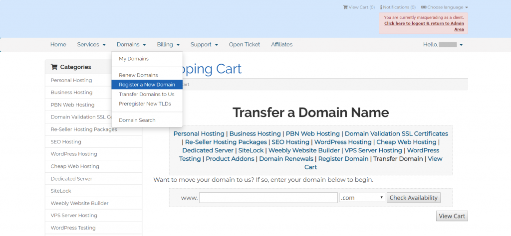 Transfer domain to SeekaHost