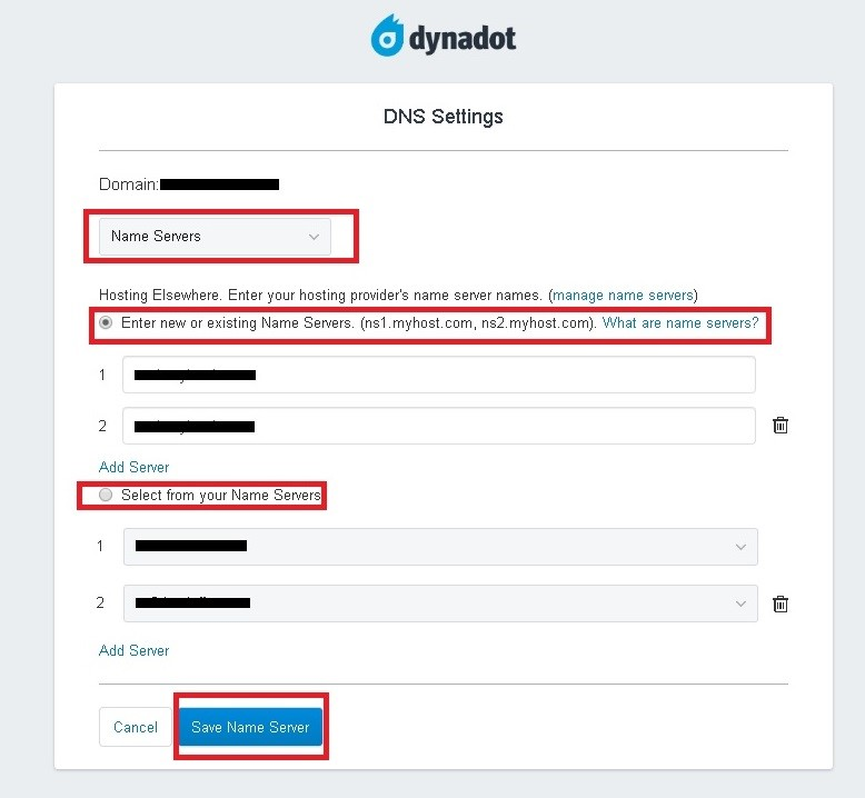 Update Private Nameserver in DynaDot