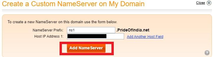 Adding nameservers