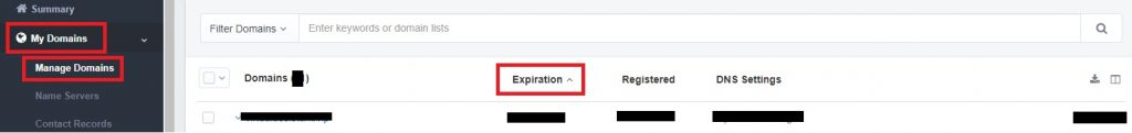 Expiration date of domain