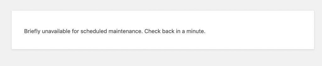 scheduled maintenance wordpress update