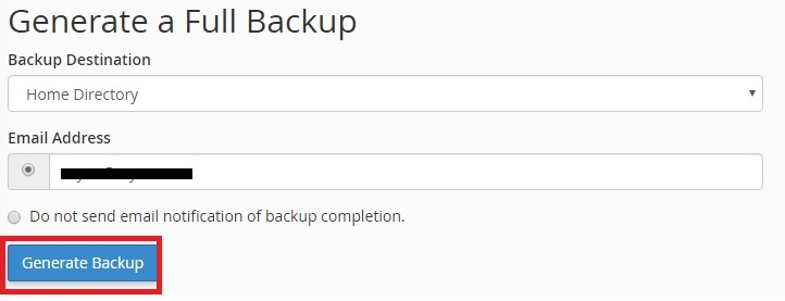 Generating backup of the site
