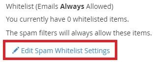 Whitelisting emails