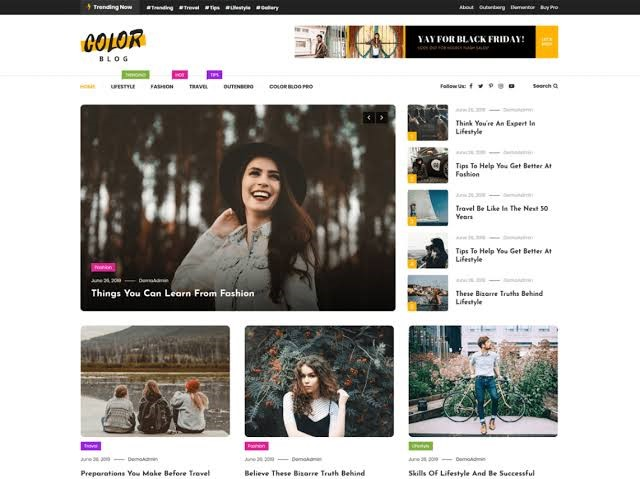 Color Blog Modern WordPress Theme