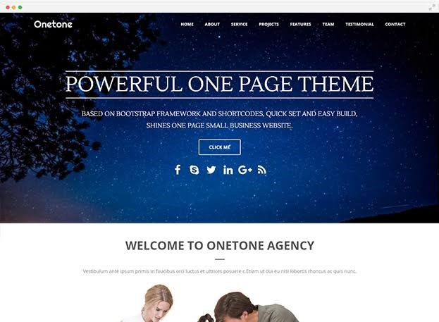Onetone Free Wordpress Business Theme