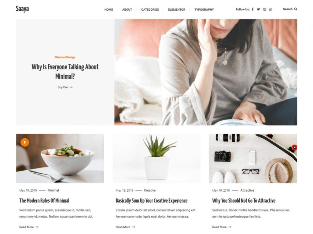 Saaya WordPress theme for multiple blogs