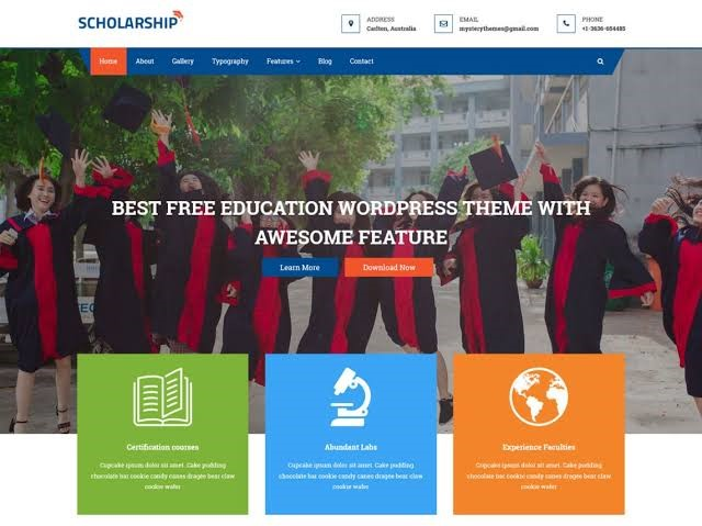 Scholarship Free Education WordPress Theme