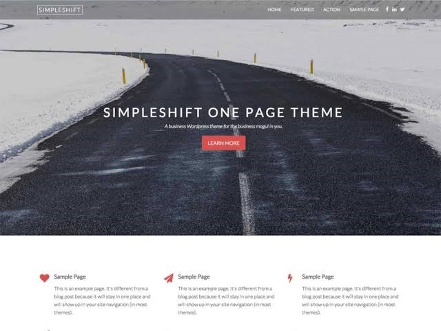SimpleShift - One Page Free Theme