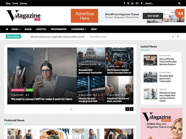 V Magazine Lite WordPress Theme