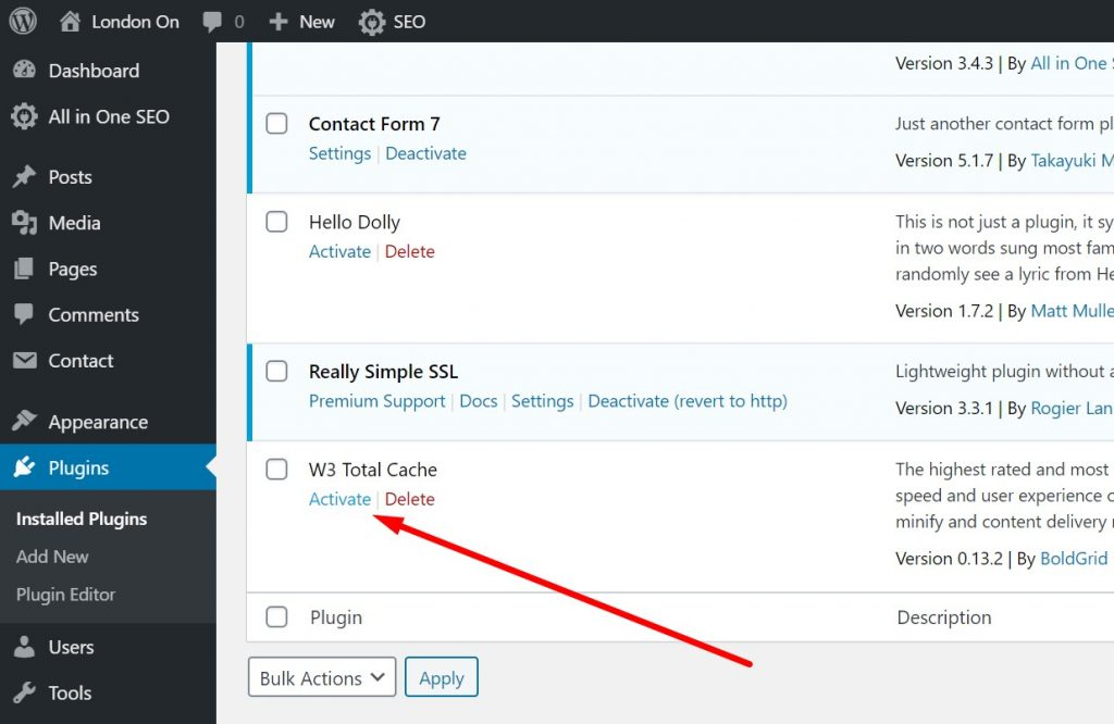 Activating W3 Total Cache Plugin