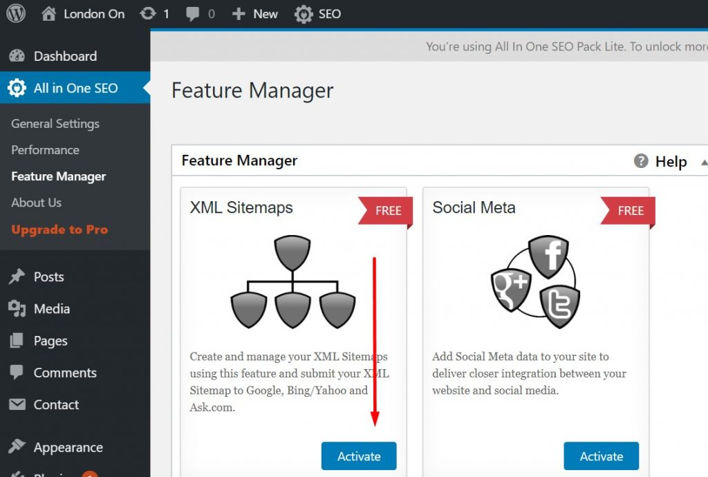 Activating XML Sitemap using All in One SEO Plugin