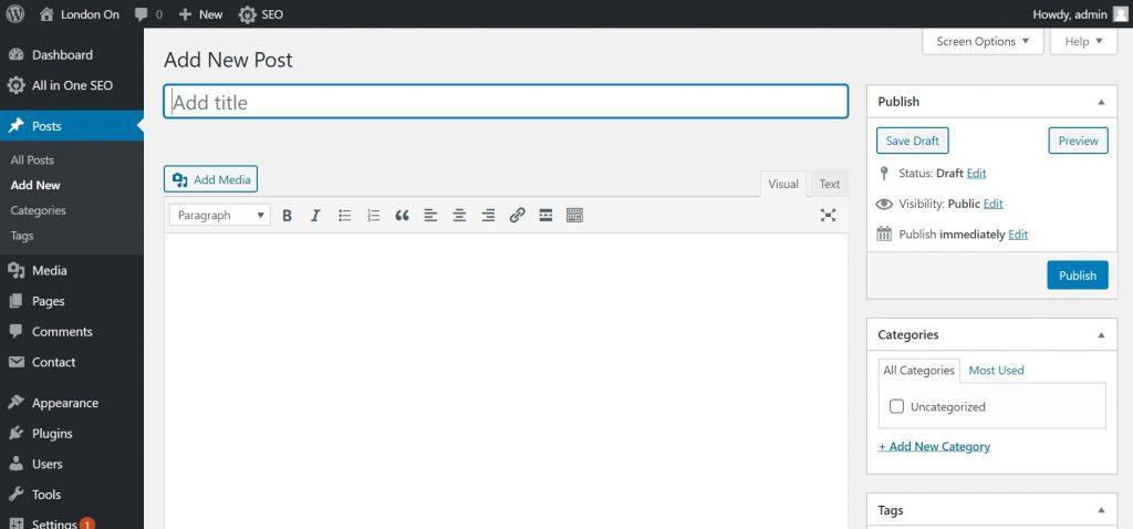 Add New Post in WordPress 1