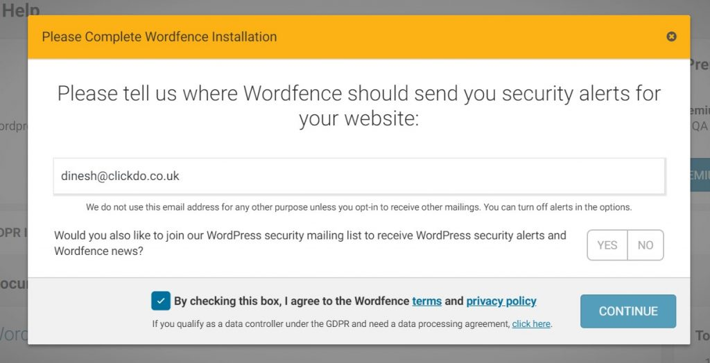 Adding Email Id to Wordfence Security Plugin