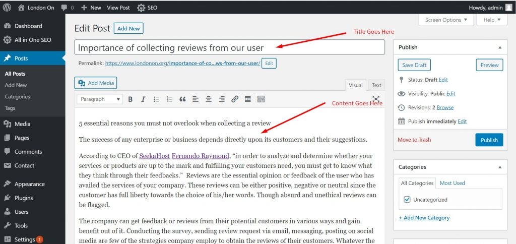 Adding Title & Content in WordPress Post
