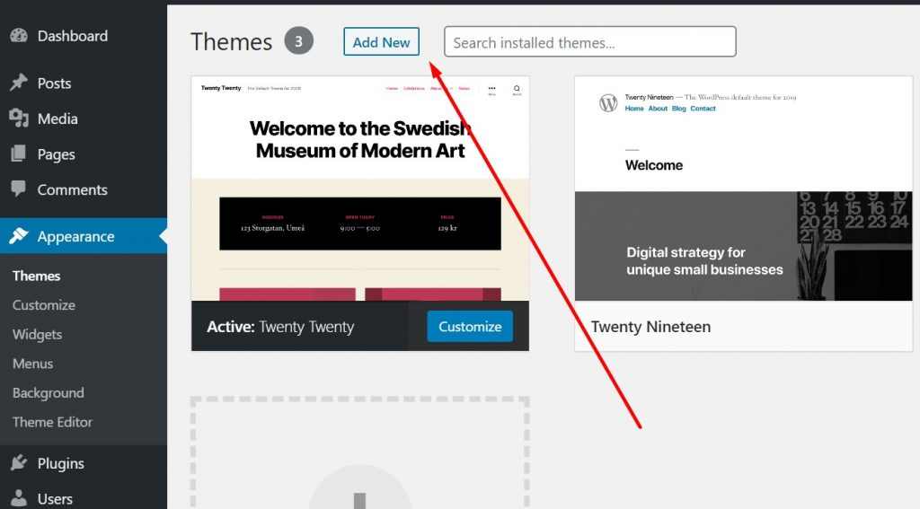 Adding new theme in WordPress