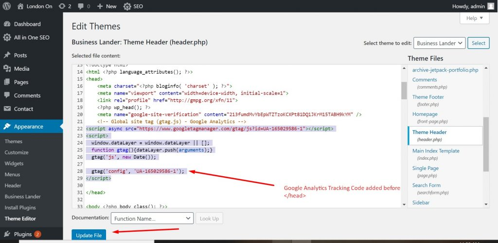 Adding tracking code in header.php of www.londonon.org