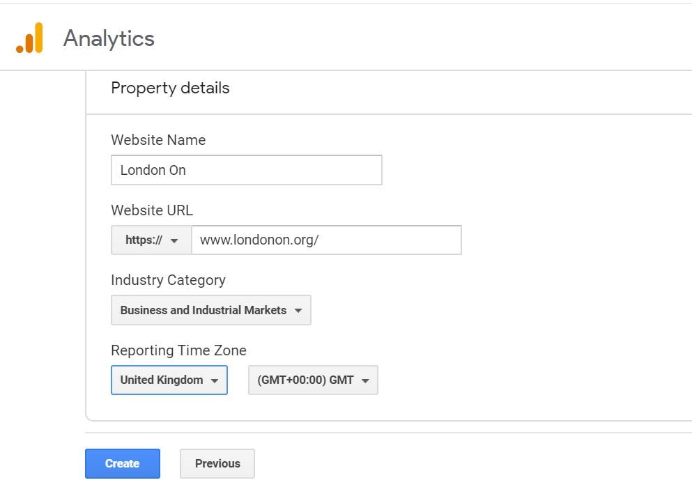 Adding www.londonon.org to Google Analytics