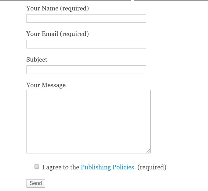 Contact form appearing in the webpage