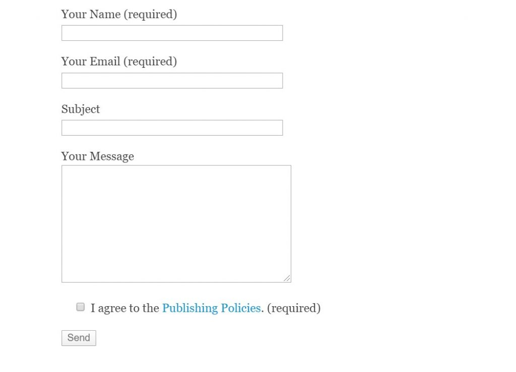 Contact form in the website