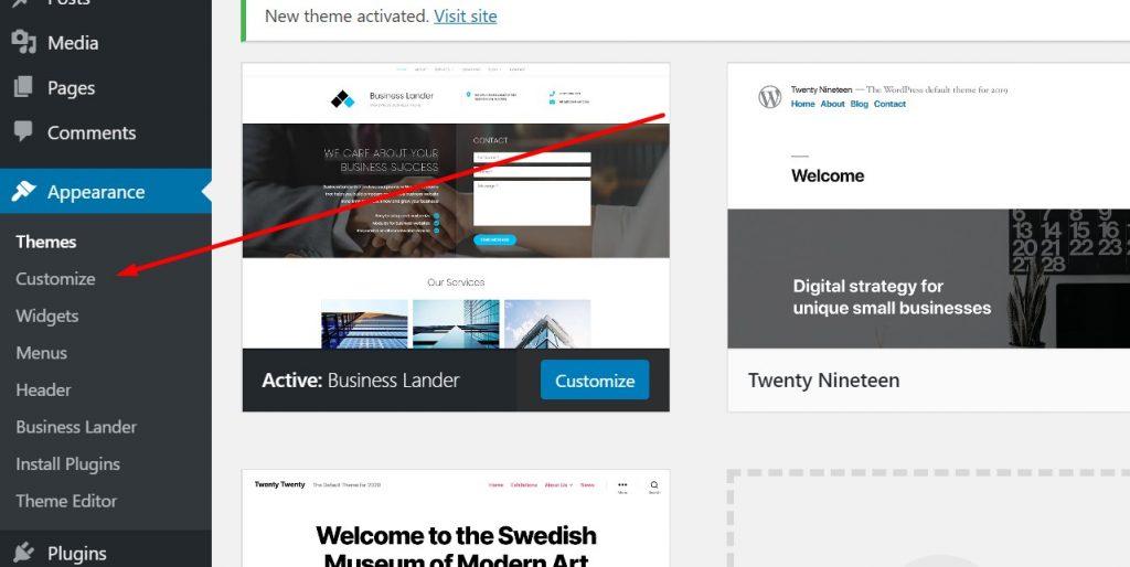 Customize the website