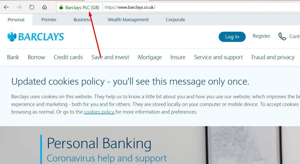 EV Certificate in Barclays Bank Website