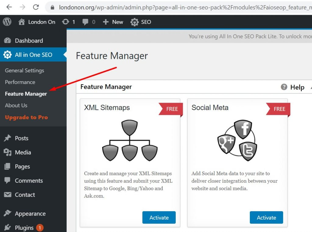Feature Manager in All in One SEO Plugin