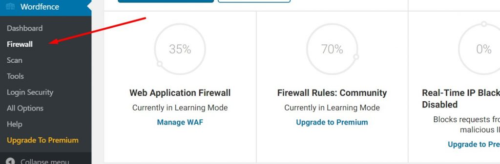 Firewall options in Wordfence Security Plugin