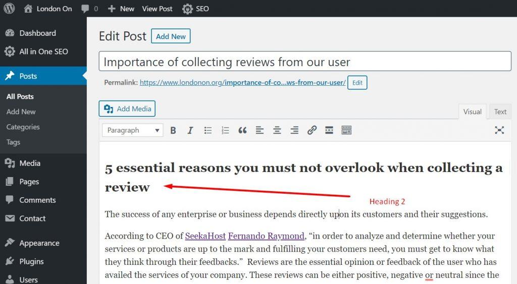 H2 added in WordPress Post