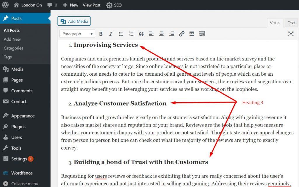 H3 added in WordPress Post