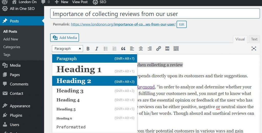 Heading Tags in WordPress Post