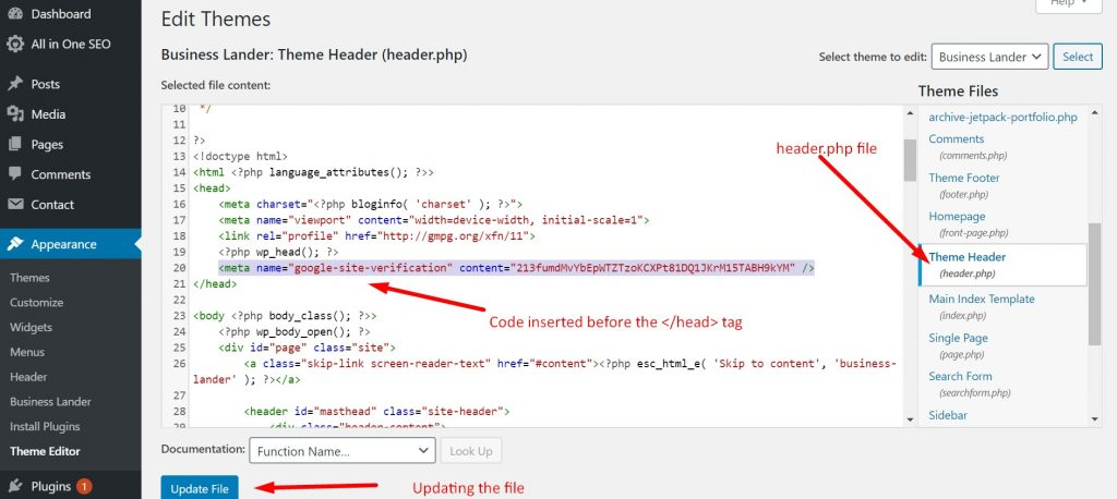 Inserting the code in the header of www.londonon.org