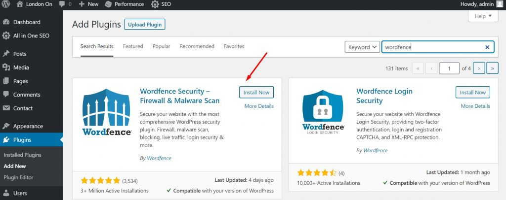 Installing Wordfence Security Plugin