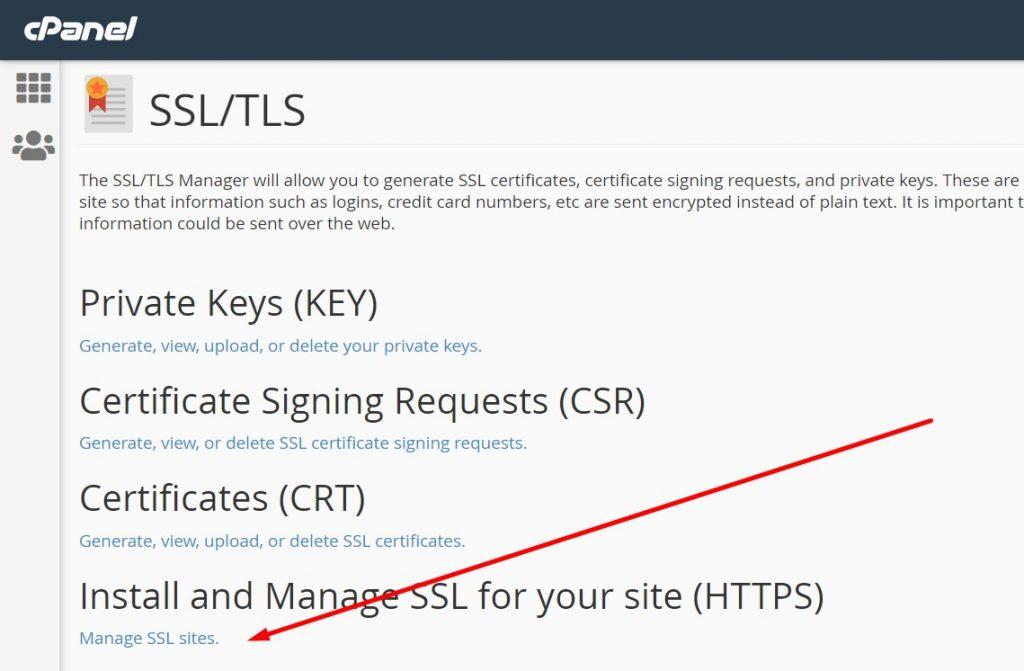 Manage SSL Sites