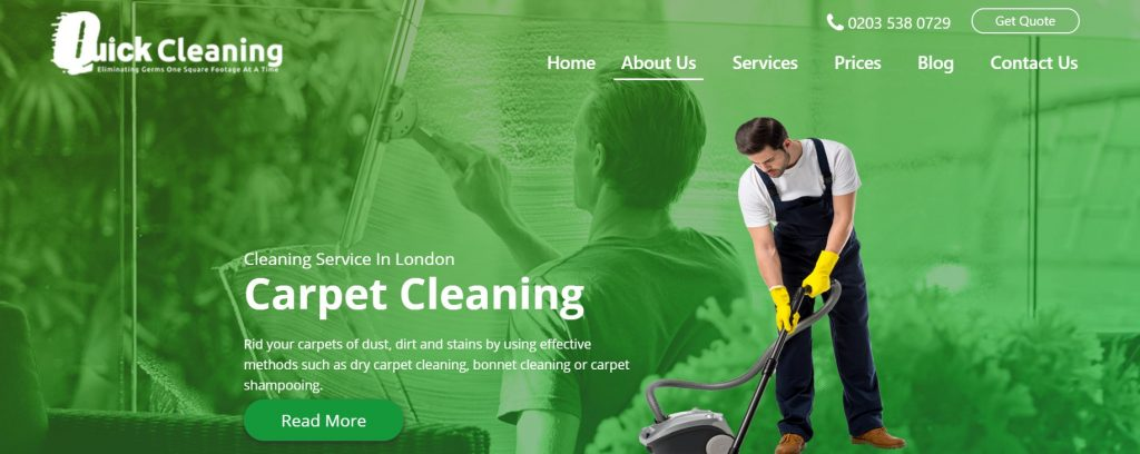 Quick Cleaning Services website – Post Vs. Page in WordPress