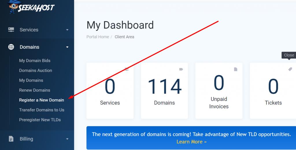 Register a new domain