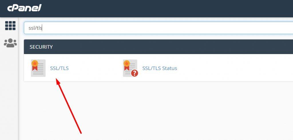 Search for SSL TLS in cPanel