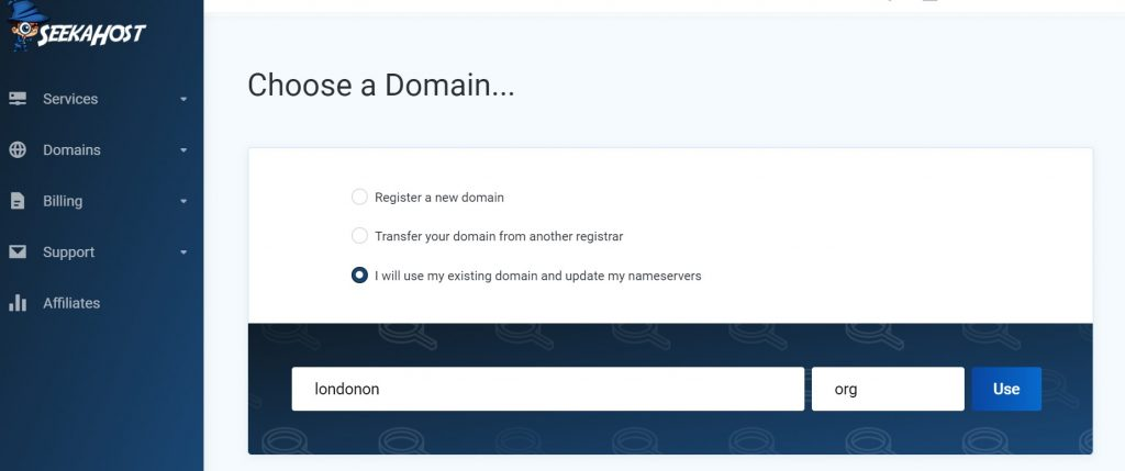 Select the domain to host