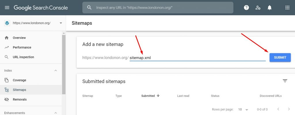 Submitting Sitemap in Search Console