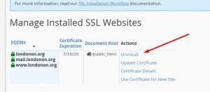 Uninstalling Default SSL