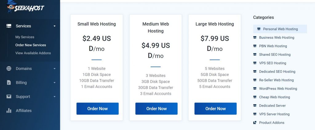 Web Hosting Packages