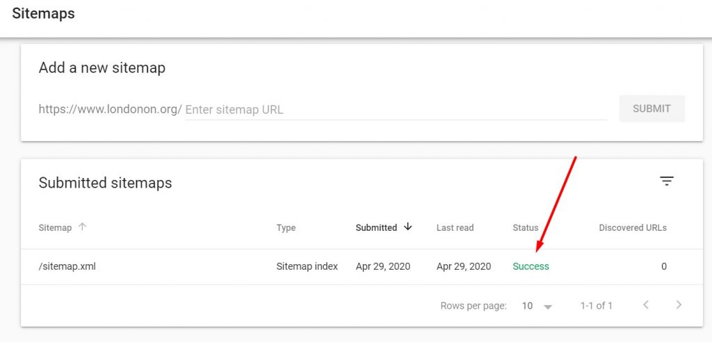 XML Sitemap of www.londonon.org is submitted using Search Console 1