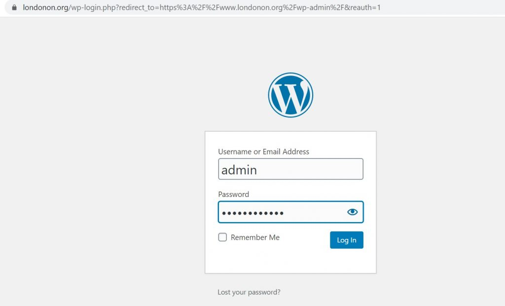 www.londonon.org – Logging into WordPress