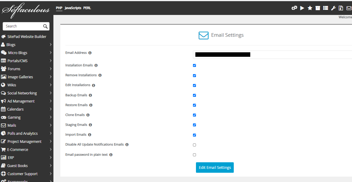 Softaculous email settings page